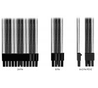 Комплект кабелей-удлинителей Custom White-Black (24pin, 8pin CPU 2pcs, 8pin GPU 3pcs)