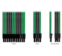 Комплект кабелей-удлинителей Custom Green-Gunmetal Gray (24pin, 8pin CPU 2pcs, 8pin GPU 3pcs)