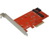 Контроллер PCI-ExpressX4 -> M.2 2 порта  NGFF (B+M key)  PCIe2NGFF Espada