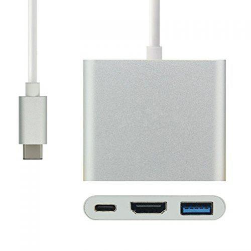 Видеоадаптер Кабель-адаптер USB 3.1 type C  -> HDMI (F)  +  USB3.0+USB-C port