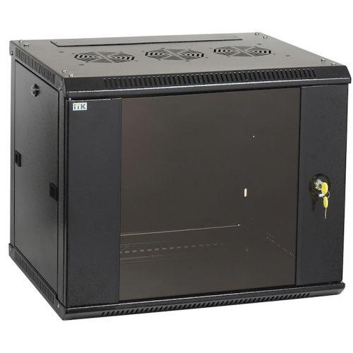 Шкаф настенный ITK LINEA W LWR5-12U64-GF, 12U, 600x450мм, дверь стекло, черный